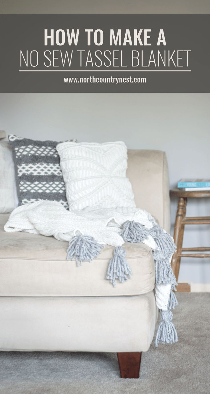how to make a no sew tassel blanket, no sew tassel blanket, DIY blanket, how to make a tassel blanket, blanket project, tassel blanket project DIY tassel blanket