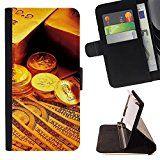 Momo Phone Case / Prämie Schwarz Flip Brief Tasche Klapp Leder Kartenhalter Schutz Hülle Case Cover - Gold Bar-Münzen-Geld - Apple Iphone 4 / 4S