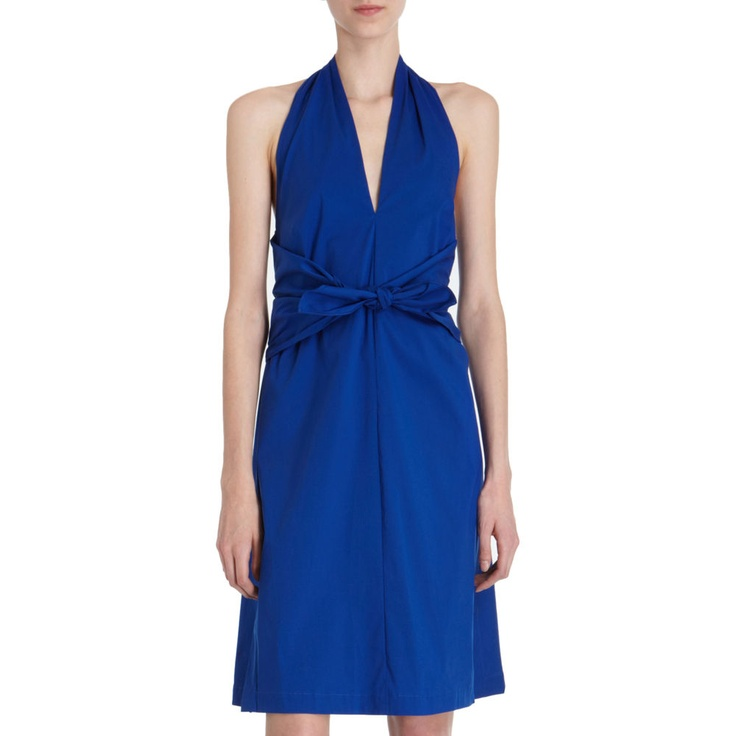 Derek Lam dress, love the intense blue and sarong-y wrap