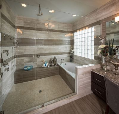 Huge and luxurious walk-in shower and tub combo. #getinspired
