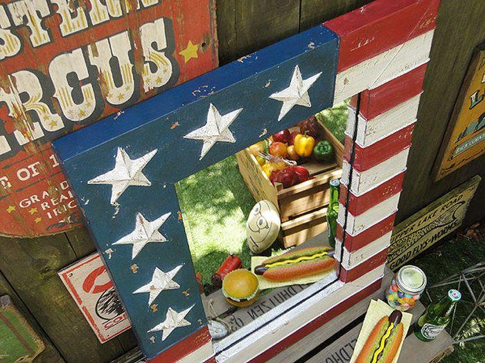 星条旗のウォールミラーLサイズ★アメリカ雑貨★アメリカン雑貨
