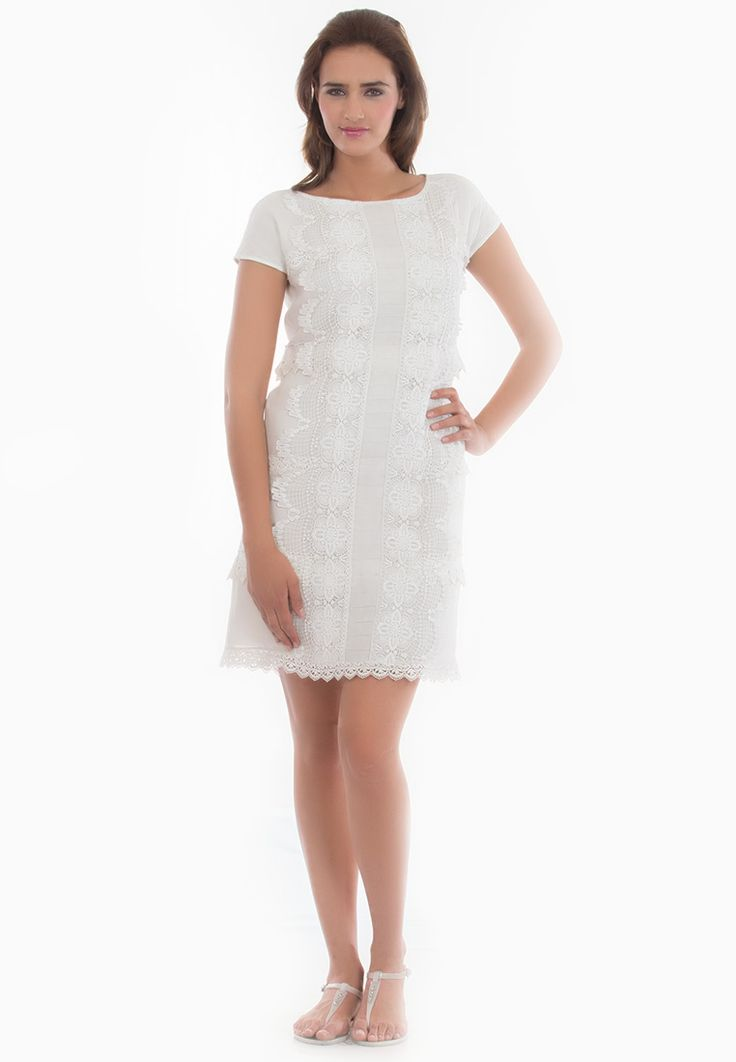 Lace work Shift Dress -> - Semi Georgette - Lining Santoon - Boat Neck Shift with Lace Detaling on Front and Back - Dry Clean  Order Now : http://www.rinkusobti.com/clothing/lace-work-shift-dress