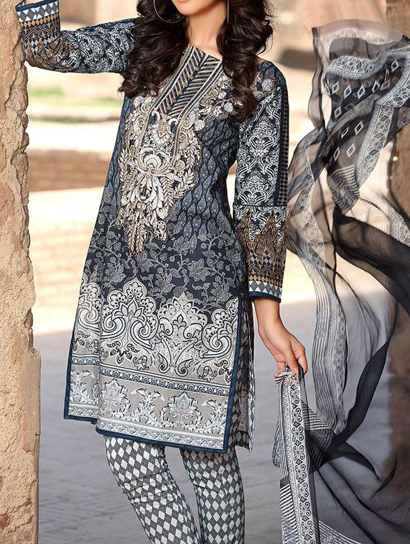 Buy Dark Grey Embroidered Cotton Lawn Dress by GulAhmed 2016 Contact: 702-7513523 Email: info@pakrobe.com Skype: PakRobe