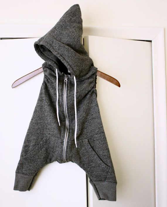 BABY HOODIE ROMPER heather gray grey harem pants by WhatADream