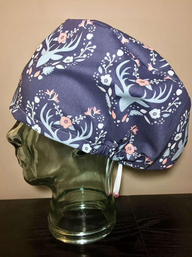 Blue & Pink Deer Floral Surgical Scrub Hat, Women's Antler European Style Scrub Hat, Modified Bouffant, Custom Caps Company by CustomCapsCompany on Etsy