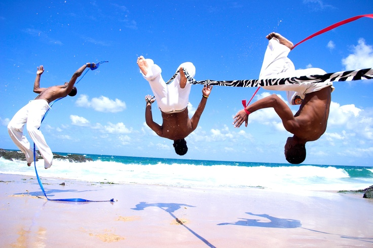 Flying capoeira revisited by Théo Bondolfi, no photomontage, no photoshop, just art directed, Bahia, Brasil