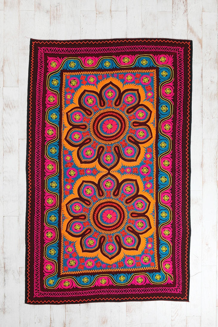 e of a Kind Double Mandala Crewel Rug