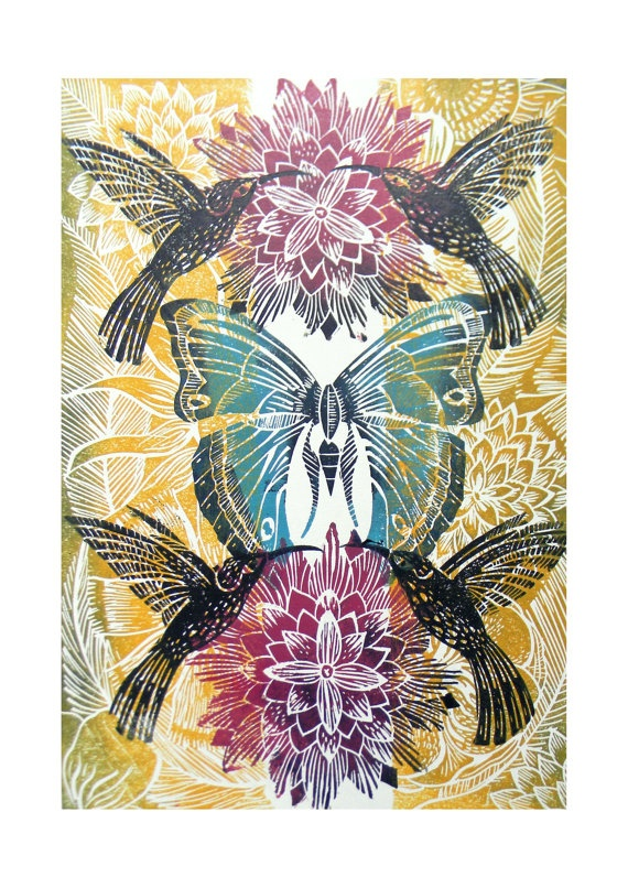 Hummingbird and Butterfly Original Lino Cut Print by Amanda Colville, Mangleprints