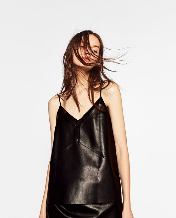 Image 2 of LEATHER EFFECT STRAPPY TOP from Zara