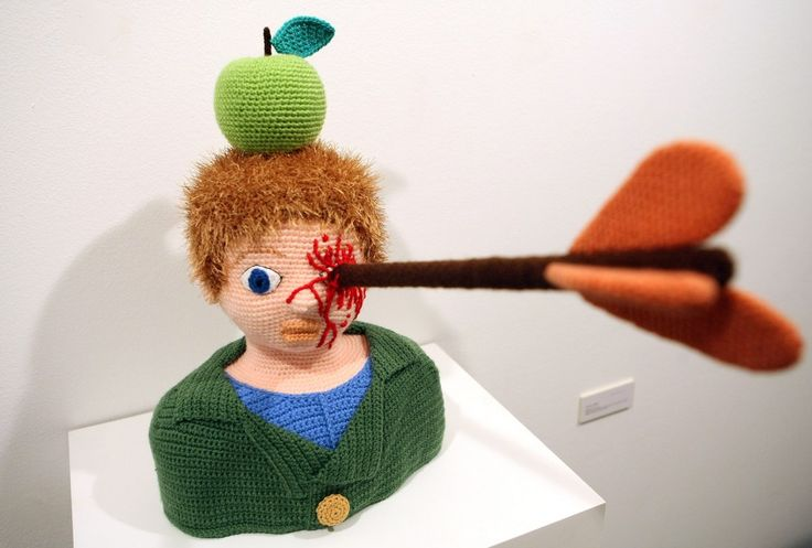 """The knitted sculpture """"William Tell"""" by Patricia Waller.1"""