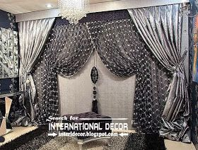 Luxury black and silver curtain design for living room