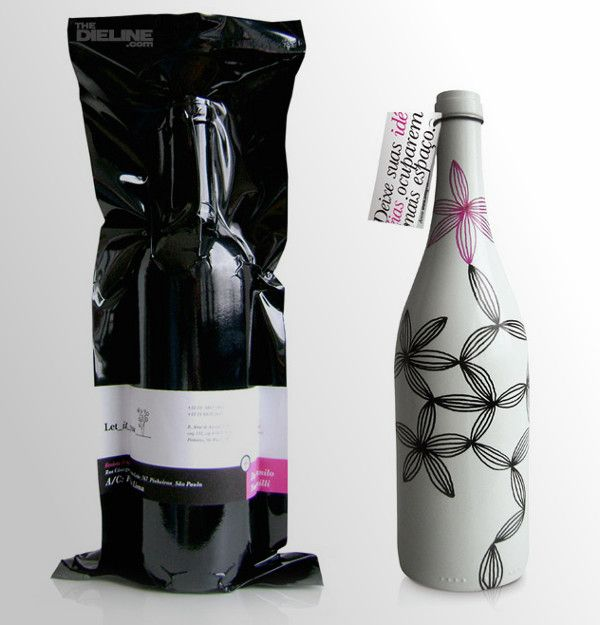 Brazilian design firm LetItGrow wanted to reach out to their clients with a special gift.  The designers took 100 empty wine bottles, painted them white and then illustrated each bottle by hand.  Before delivering the unique work of art, they wrapped each unit in a vacuum-sealed black plastic label with a description about its contents.