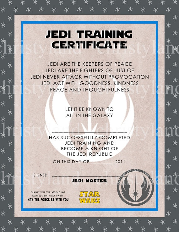 Jedi training certificate star wars pinterest for Star wars jedi certificate template free