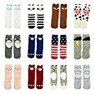 Gellwhu 12 Pairs Baby Girls Boys Cartoon Knee High Stockings Tube Socks 0-5Y (0-1 Year, 12 Pairs Set A)