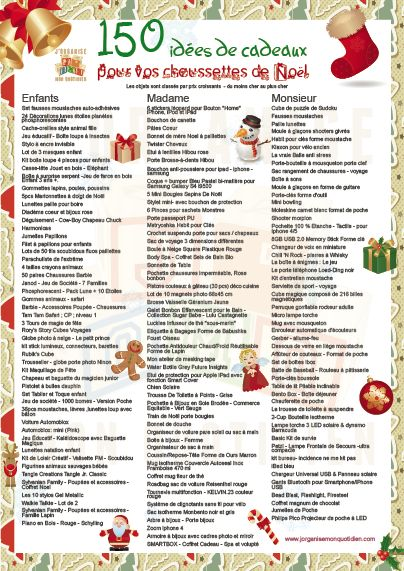 Découvrez 150 idées originales de cadeaux de Noël. Téléchargez la liste avec les liens pour les commander directement.