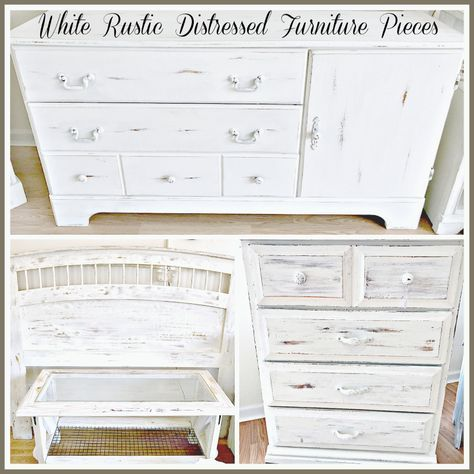 White Rustic Distressed Furniture Makeovers