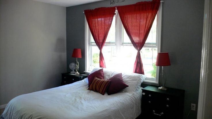 Grey Bedroom Walls Red Curtain White Bed | home | Pinterest | Red ...