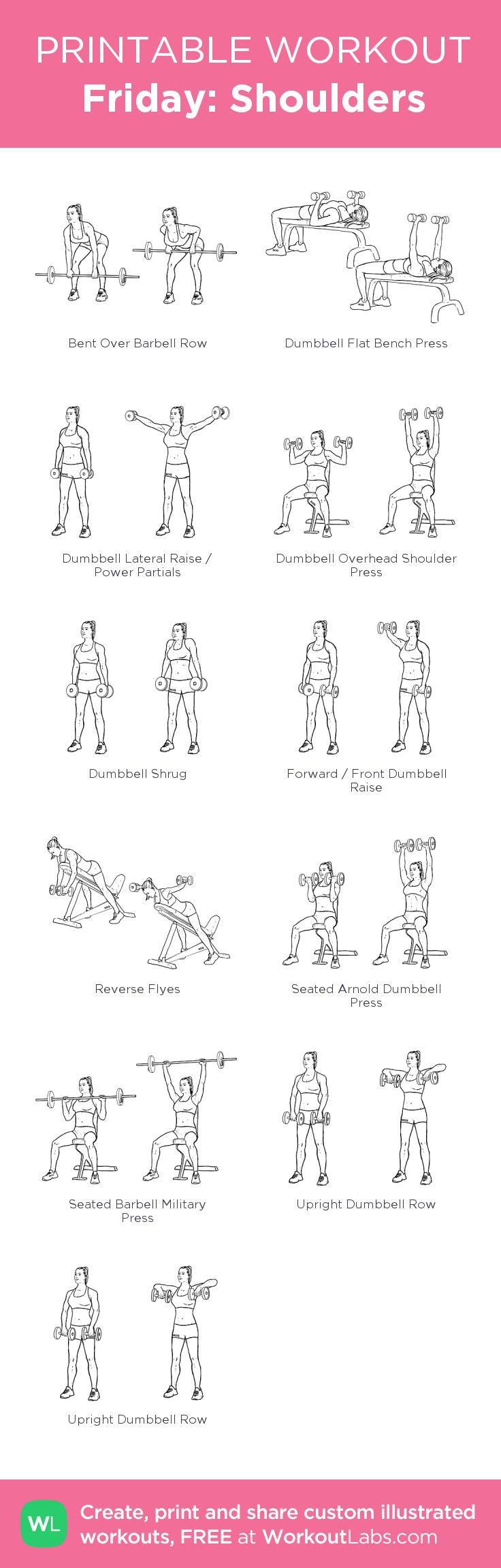 Friday: Shoulders:my visual workout created at WorkoutLabs.com • Click through to customize and download as a FREE PDF! #customworkout