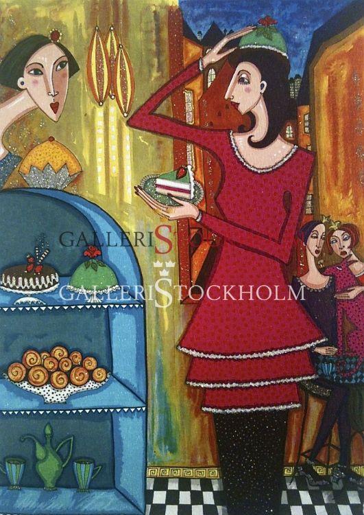 Angelica Wiik - Litografi - Tårtdax  Beställ här! Klicka på bilden.