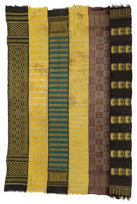 Africa | Wrapper, 1960–70 | Republic of Guinea-Bissau, Kelequis; Manjaka peoples | Cotton, synthetic yarns