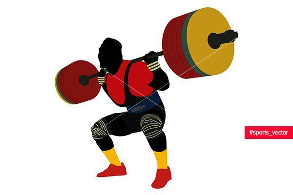 male athlete powerlifter squat barbell colored silhouette