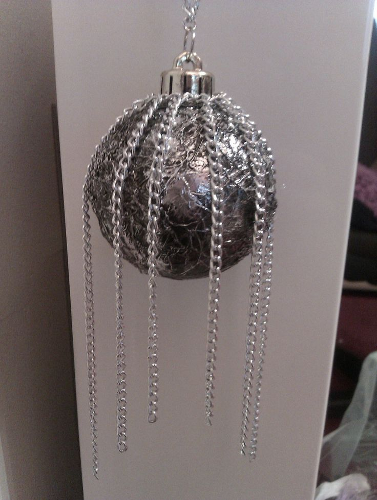 Steampunk, Revamped a plain xmas bauble, decorated with foil and chain. Can be found at: https://www.facebook.com/rock.booties#!/rock.booties
