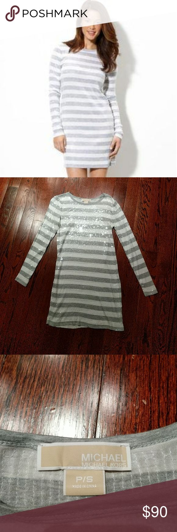 Michael Kors Grey and White Striped Sequin Dress Selling a Michael Kors sequin, long-sleeved dress that has never been worn. In excellent condition - no signs of wear or tear, all sequins intact. Michael Kors Dresses Long Sleeve