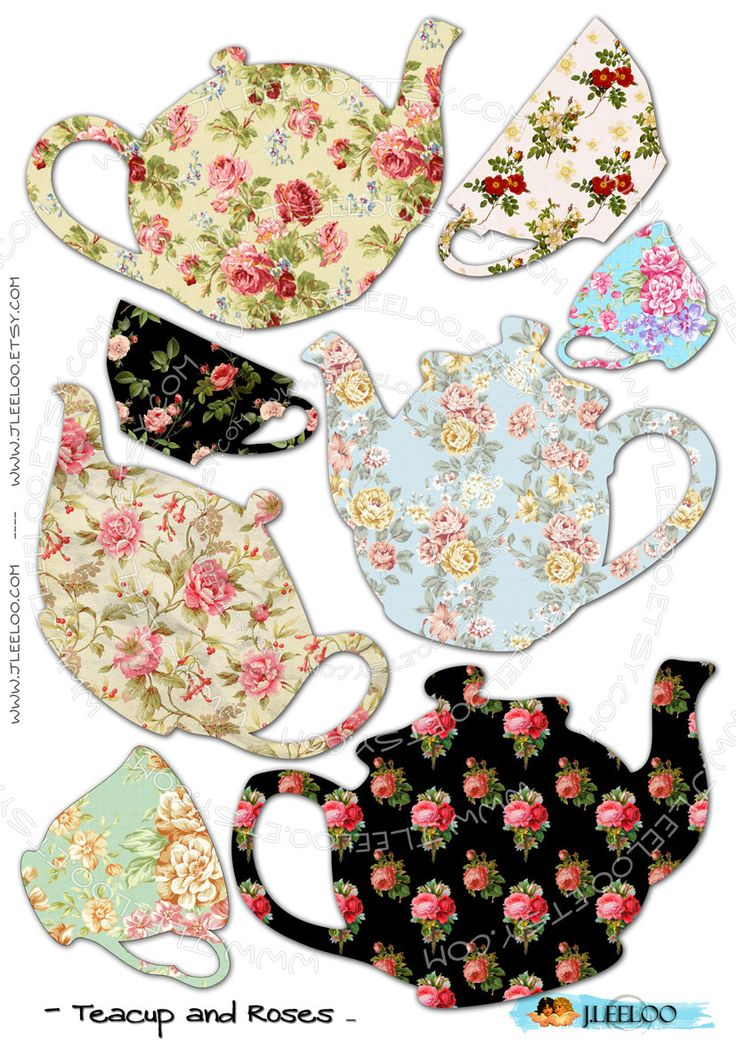 .siluetas -aplique...Teapots...teapots...and cups in every pattern and color!