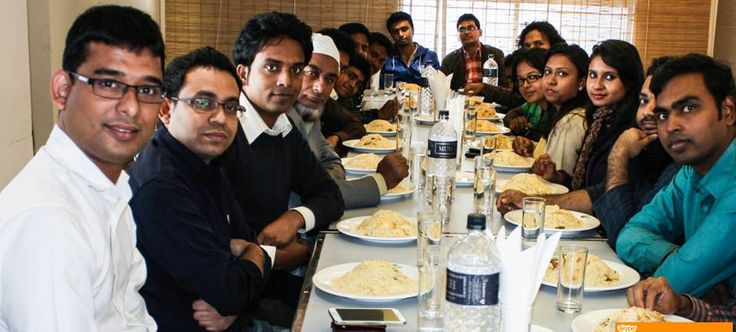 Employees in Bangladesh having lunch with Mr. Ferdous Haider, the Chief Operations Officer when he hvisited Bangladesh office