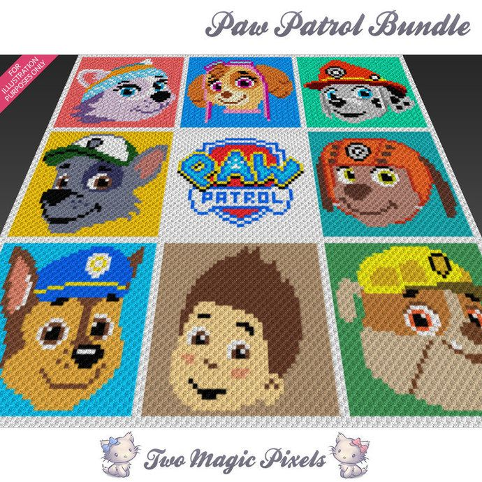9x Paw Patrol graph crochet blanket pattern; knitting, cross stitch graph; pdf…