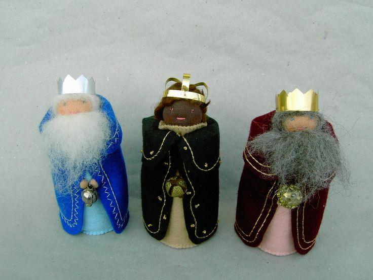 Krippenfiguren: Die heiligen drei Könige: Kaspar, Melchior, Balthasar