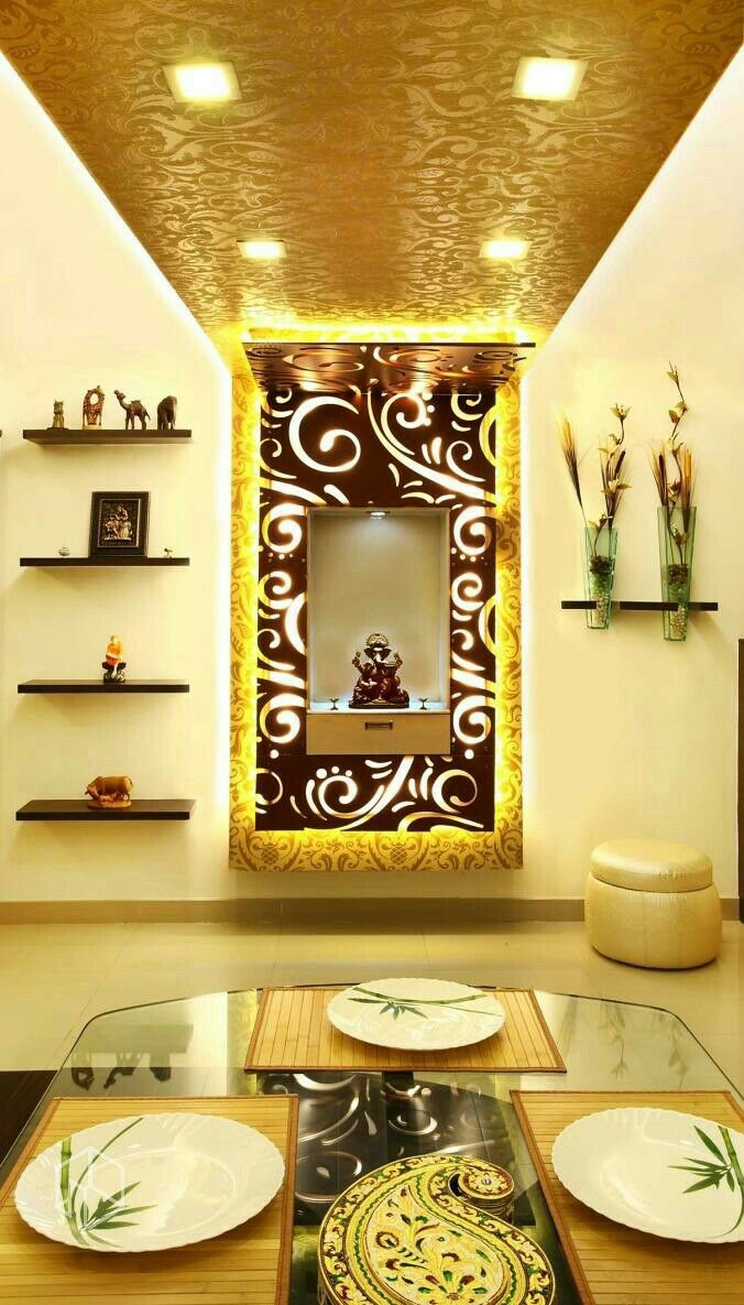 Puja Room, Ceiling Design, Interior Designing, Flat Design, House  Interiors, Decorative Room Dividers, Exterior Design, Ethnic Decor,  Meditation Rooms Part 69