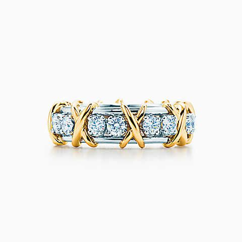 Anillo Tiffany & Co. Schlumberger Sixteen Stone en oro de 18k con diamantes.