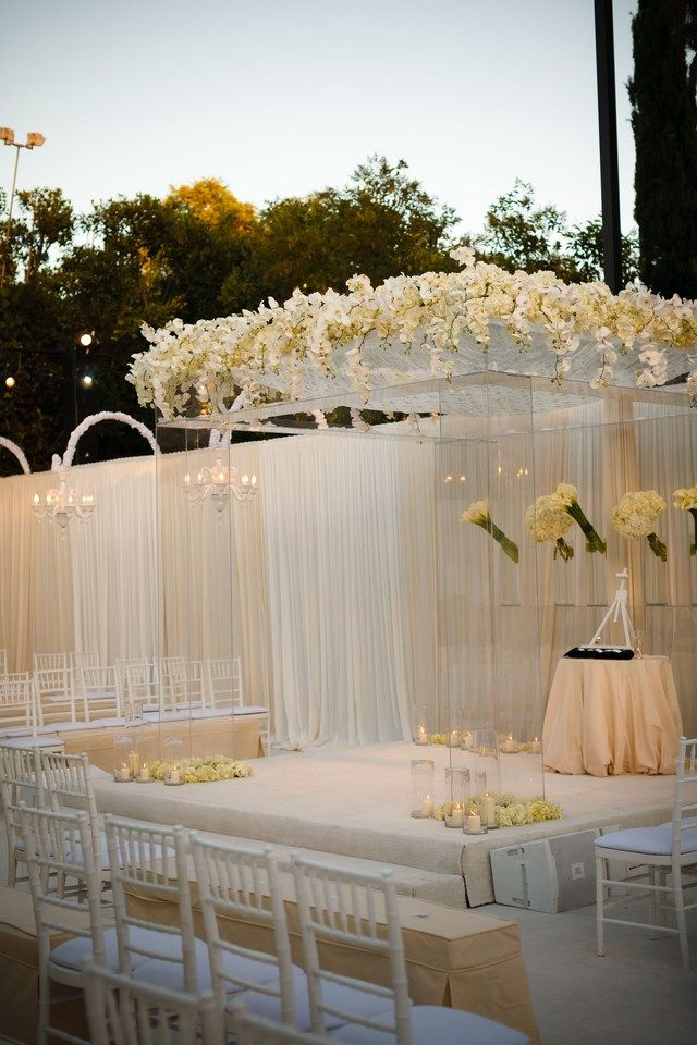 All white Gorgeous lucite chuppah wedding ceremony
