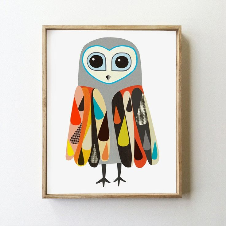 Rainbow Sooty Owl Art Print by inaluxe.