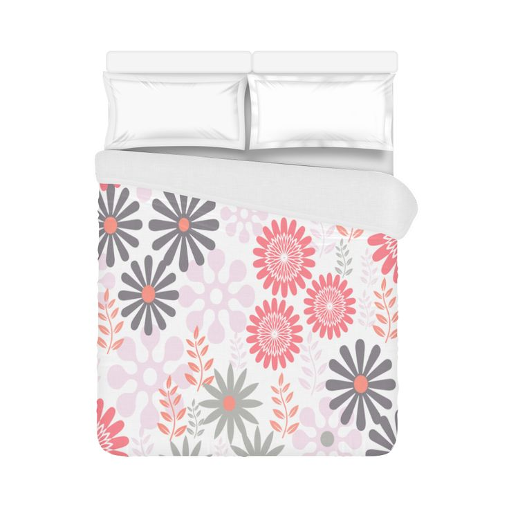 "Pink and Grey Floral Pattern Duvet Cover 86""x70"" ( All-over-print)"
