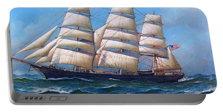 The Portable Battery Charger featuring the painting The American Clipper Ship Gamecock Under Full Sail 1918 by Jacobsen Antonio