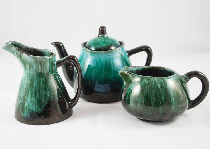 Ensemble de à thé ou café théière de céramique Laurentien, un pot à lait et un pot à sucre fabriquer au Canada de la boutique 3rvintages sur Etsy
