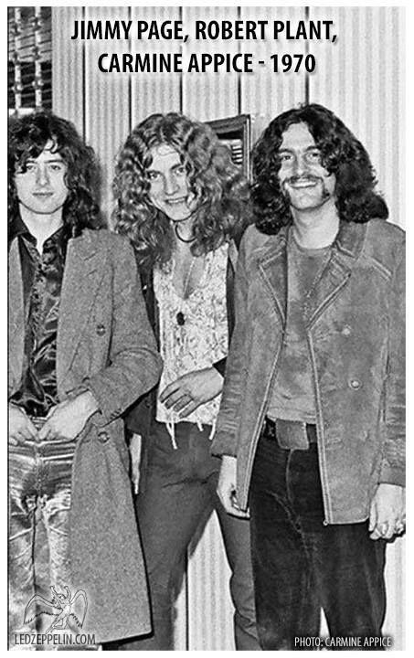 Jimmy Page, Robert Plant & Carmine Appice, 1970, photo by Carmine Appice.