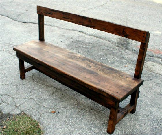 rustic farm table bench with back like this bench maybe need filler in the back the. Black Bedroom Furniture Sets. Home Design Ideas