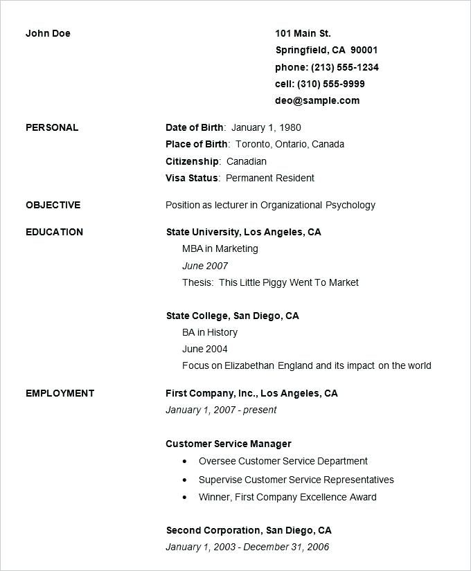 Easy And Free Resume Templates Resume Template Free Basic