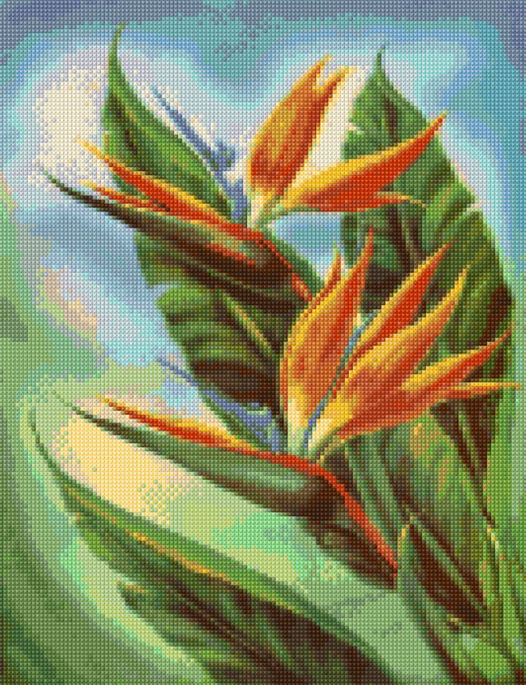 1950s Bird of Paradise Mid Century Cross Stitch pattern PDF - Instant Download! by PenumbraCharts on Etsy