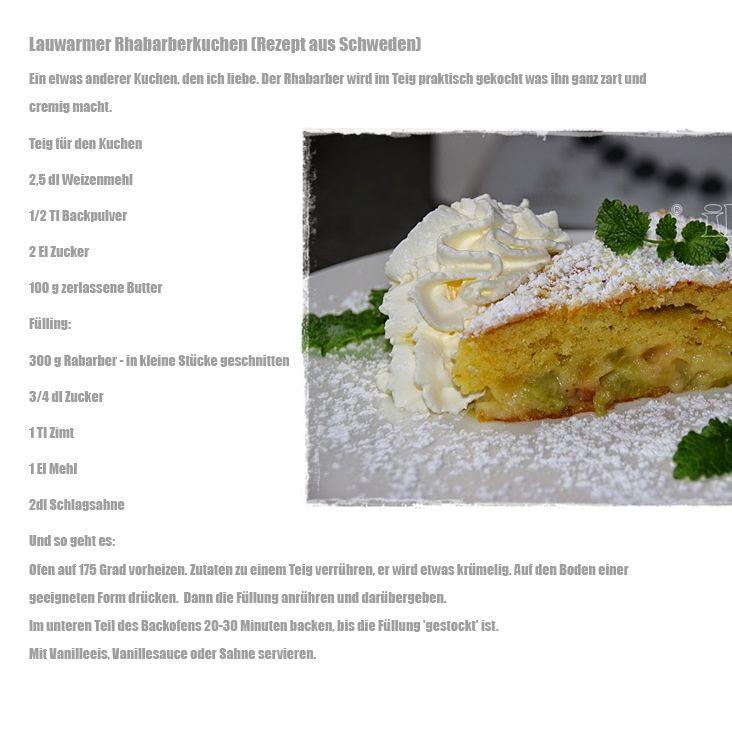 Lauwarmer Rhabarbarkuchen