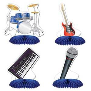 37 - Rock N RollMini Centre Pieces. Pack of 4 Centerpieces Mini - Band Rock N Roll (12cm) Drum Kit, Keyboard, Guitar & Microphone