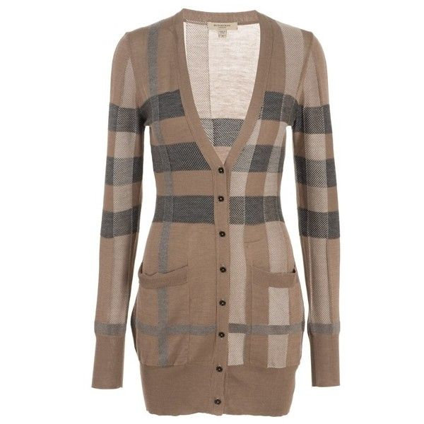 Burberry Check Silk Blend Long Cardigan ($437) ❤ liked on Polyvore featuring tops, cardigans, sweaters, jackets, outerwear, long tops, long brown cardigan, over sized cardigan, burberry and v neck tops