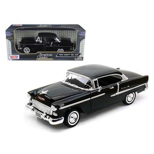 1955 Chevrolet Bel Air Hard Top Black 1/18 Diecast Car Model by Motormax