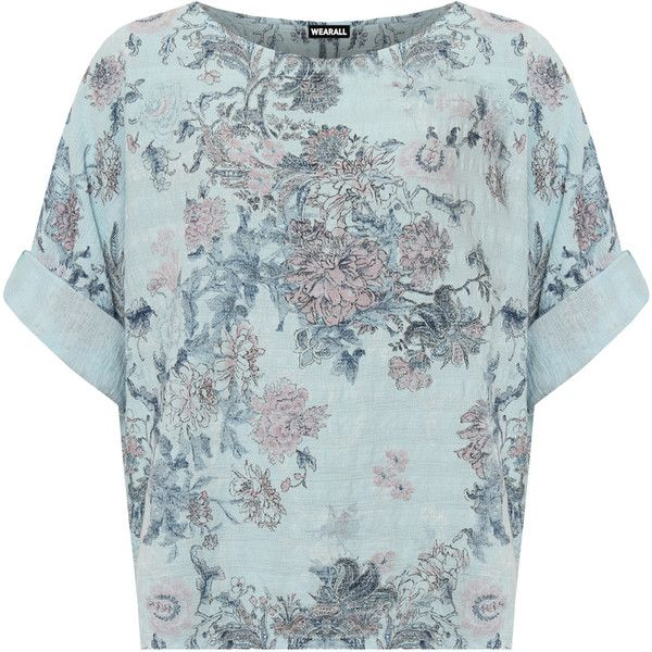 WearAll Plus Size Floral Print Linen Batwing Sleeve Top ($26) ❤ liked on Polyvore featuring plus size women's fashion, plus size clothing, plus size tops, light blue, light blue top, linen tops, plus size long sleeve tops, blue floral top and womens plus tops