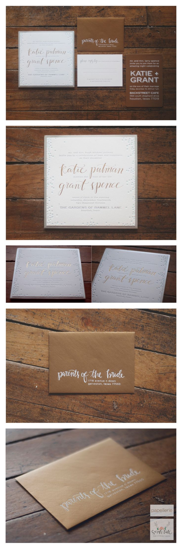 katie and grant's invitation | designed by #papellerie | calligraphy and lettering by sarah tate