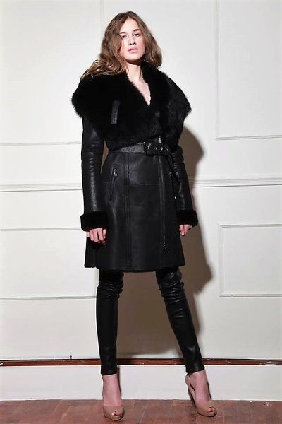 Women's Long Moto Hooded Shearling with Detailed Sleeve Stitching #shearling #coat #outerwear #luxury