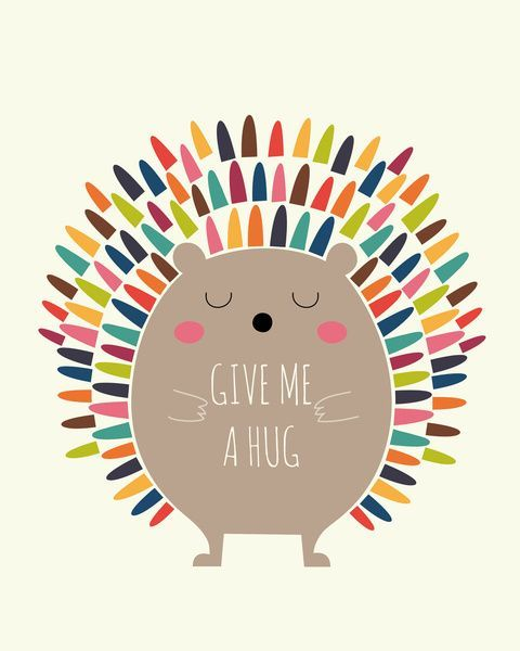 Andy Westface cute digi art cartoon illustrtation print rainbow hedgehog , give me a hug great wall art for contemporary scandi chic playroom or pin to cheer you up